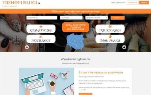 Strona internetowa Trendy usługi - ogłoszeniowa